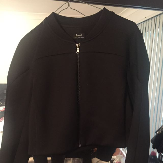 Cropped Thick Biker Style Jacket - Size 14, However Fits A Small