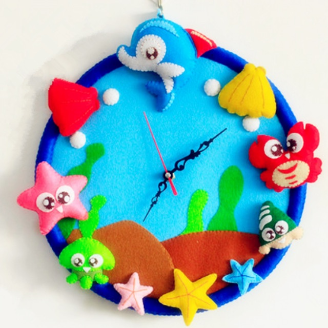 Diy Sea Creatures Felt Clock Sewing Kit Size 30x30cm Babies