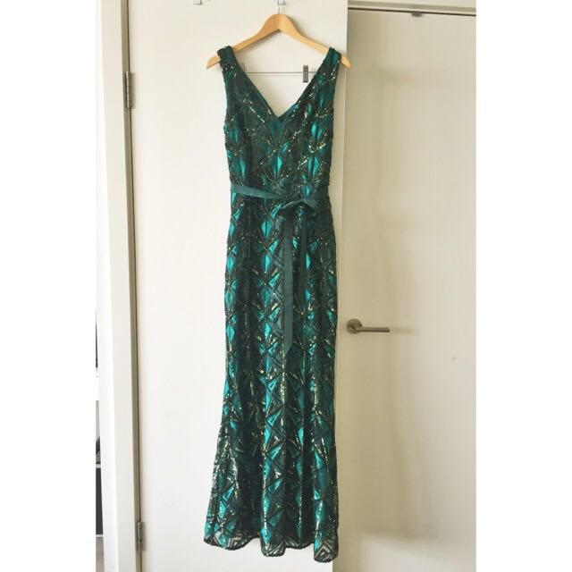 Embellished Emerald Green Gown Christmas Party Dress