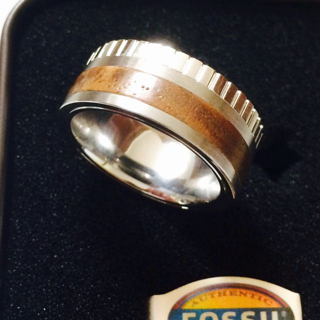Genuine Men's Fossil Wood And Steel Ring