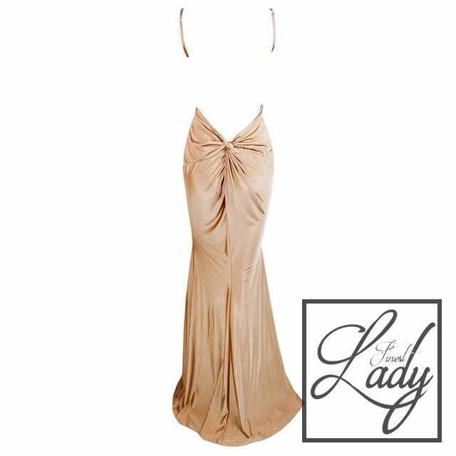 Gold Blackless Evening Dress