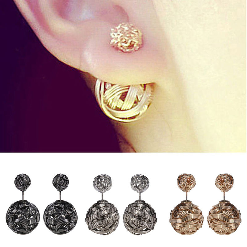 Gold double sided stud earring