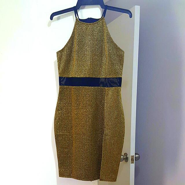 Gold Sparkly Bodycon Dress Small