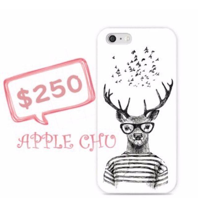 簡約手繪鹿先生iphone全包磨砂手機殼