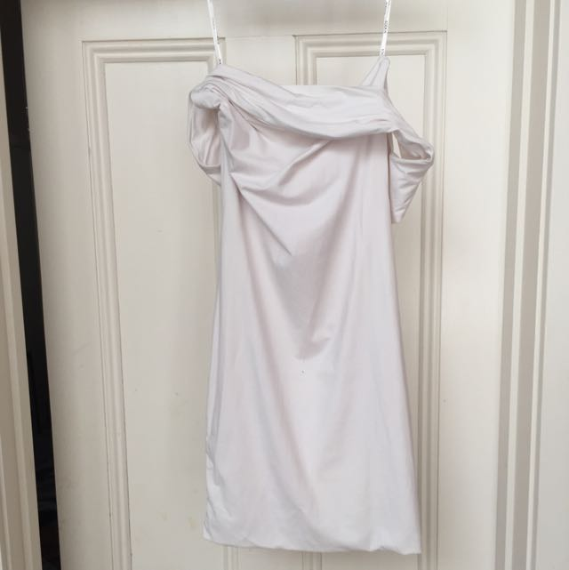 Kookai Off Shoulder White Body Con Dress