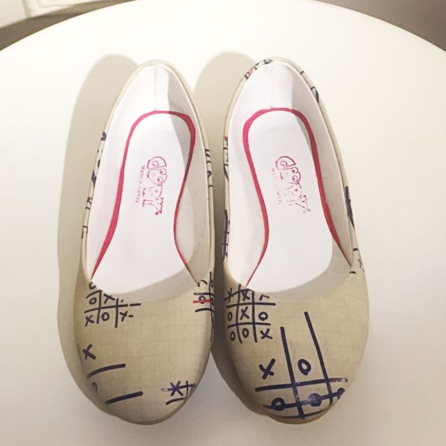 Leather X And O Patterned Flats