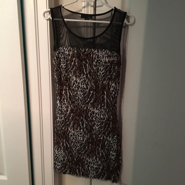 Leopard Dress With Mesh Top
