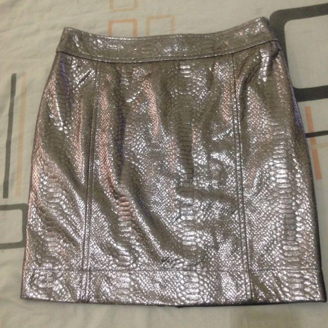 Mango Silver Pencil Skirt
