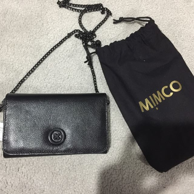 Mimco Wallet On A Chain Crossbody Black Bag