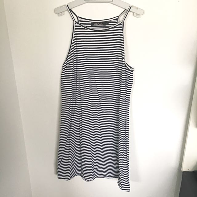 Navy And White Striped High Neck Dress