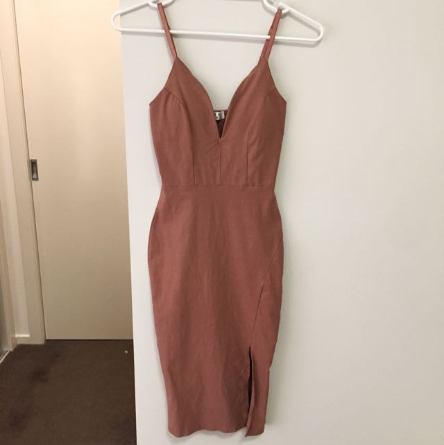 Nude V-Neck Fitted Dress