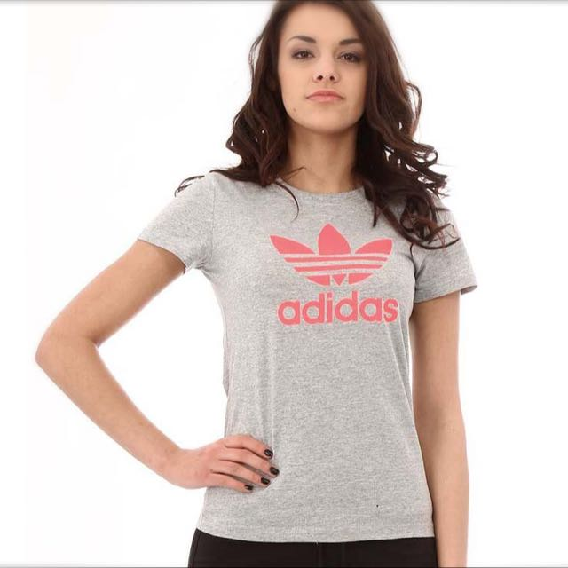 Original Adidas Grey And Pink Tshirt Size S