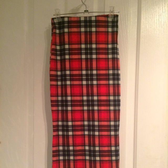 Red Tartan Skirt - Midi