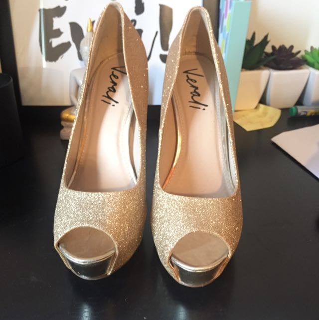 Sequinned Size 9 Gold Verali Heels