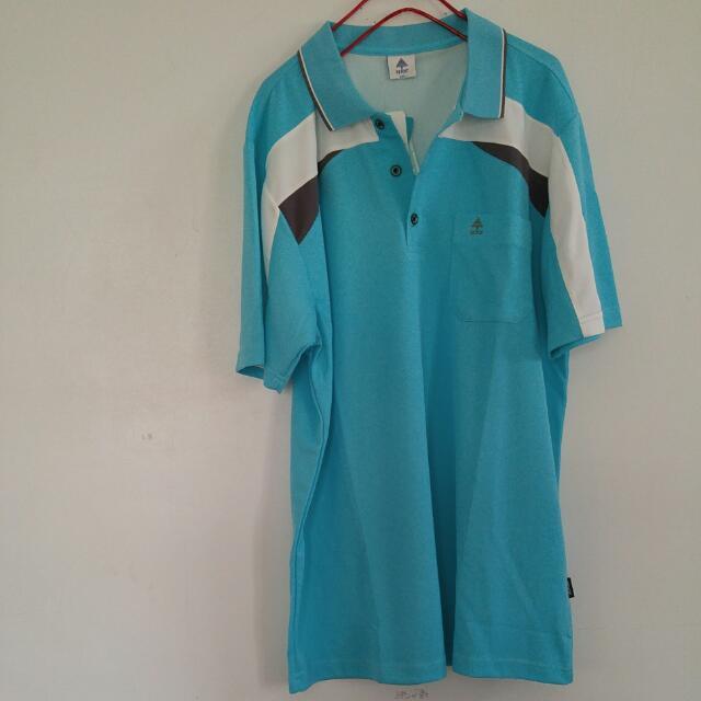 Spar 冰藍色雙色細眼排汗polo衫短袖 2L 全新正品