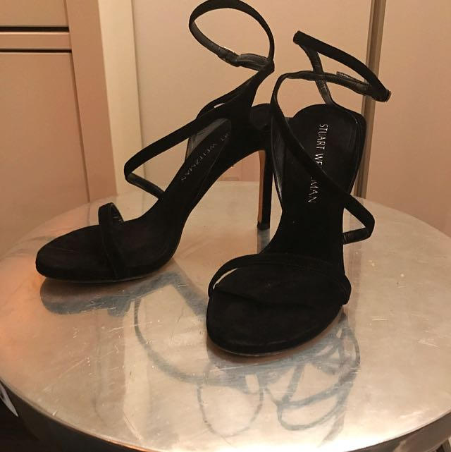 Stuart Weitzman Black Suede Heeled Sandals