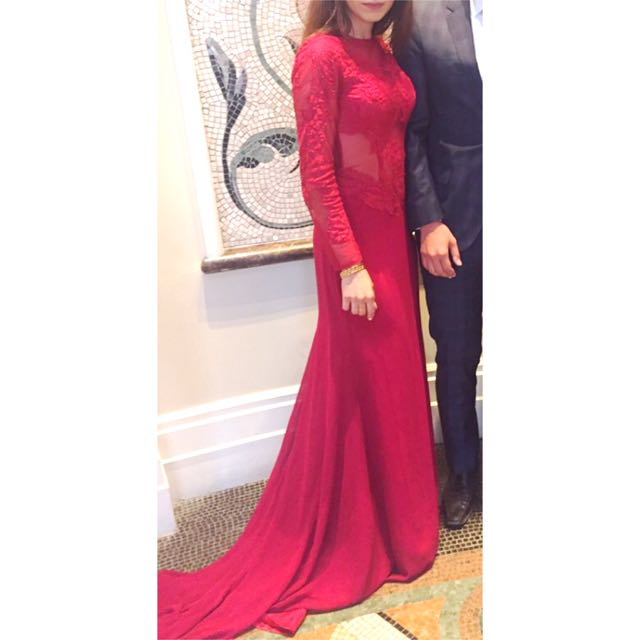 Stunning Red Prom Dress With Sleeves