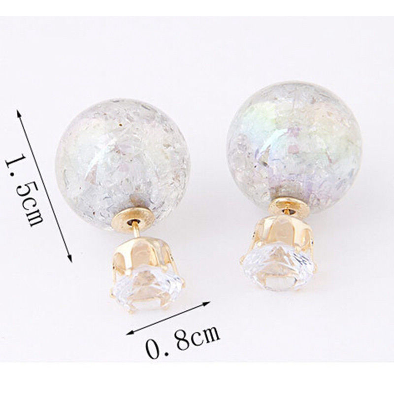 White Crystal ball double sided stud earring