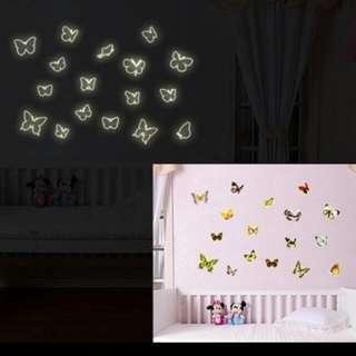 ($35 for 2包平郵) 夜光貼 蝴蝶 牆貼 靜電貼 butterfly wall sticker