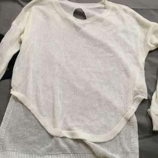 白色針織  前短 後長