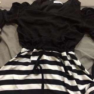 條紋縮腰 連身裙