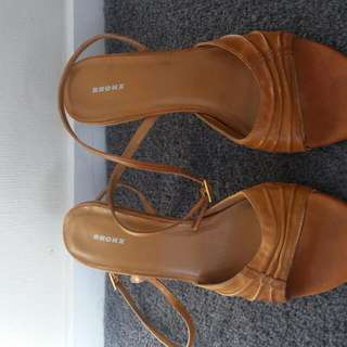 Size 8 Brown Leather Ankle Wrap Shoes