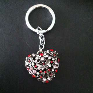 Silver Heart Pendant Keyring With Pink And Ruby Stones