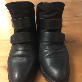 Black Leather Boots (size 6.5)
