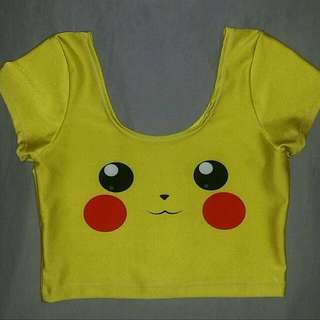 Living Dead Clothing Pikachu Crop Top, size small