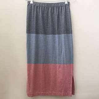 AU8 Country Road Colour Block Midi Skirt