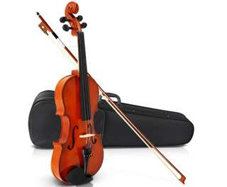 Full Size 4/4 Natural Wooden Beginner Violin Set Brown