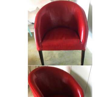Red Leather Armchairs X2