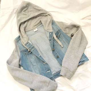 Ghanda Cropped Denim Sweater Jacket