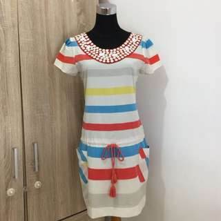 Dress garis garis LEAF
