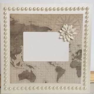 World Map Card With Pearl Border