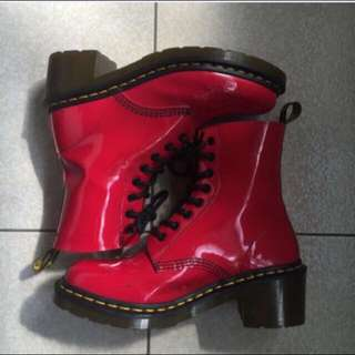 Dr. Martens 漆皮正紅 大紅 八孔 短靴 (正品)馬丁大夫