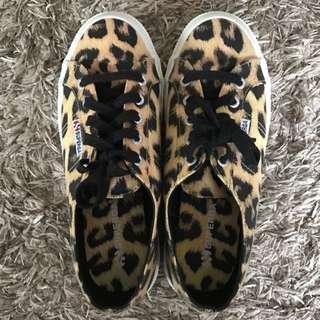 Superga Size 38 Leopard Canvas Trainers