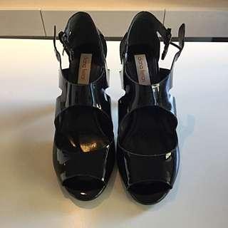 Diana Ferrari Painted Leather Black Heeled Sandals
