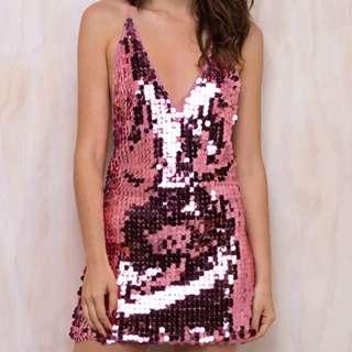 Princess Polly Metallic Pink Sequin Dress