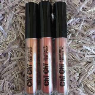 CHI CHI; Creamy Matte Liquid Lipsticks x3
