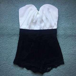 ASOS Black & White Strapless Playsuit - (sz 6/xs)