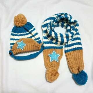 幼童星星毛帽+配色圍巾