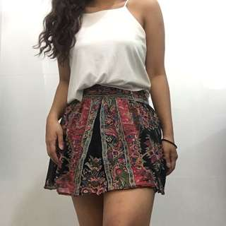 Boho Festival Vintage Look High Waisted Mini Skirt