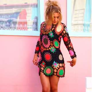 WEKOKO black & Pink Harlequin Dress
