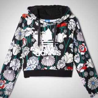 Adidas Cropped Floral Hoodie