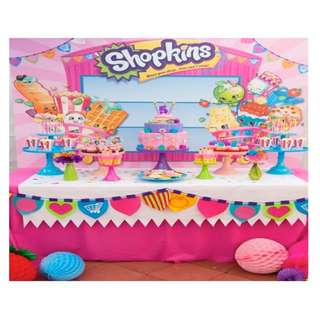 SHOPKINS Themed Birthday Party (Party Supplies) Pls CHAT with us for the detailed/specific product listing & price.. We Have wide range of stocks pre printed & personalized printables...