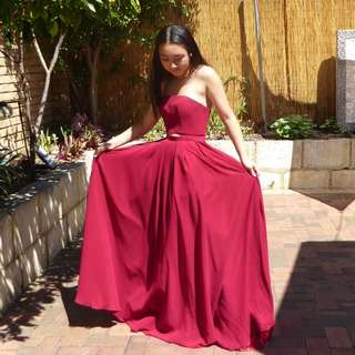 Burgundy two-piece ball dress/gown
