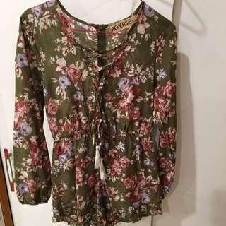 Green Floral Jumpsuit