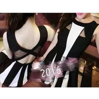 ✨黑白配色合身洋裝✨