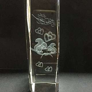 3D Glass Cube With Laser Engravings